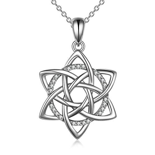 ONEFINITY Star of David Necklace Sterling Silver Celtic Triangle Trinity Knot Necklace Good Luck Irish Jewelry for Women Gifts