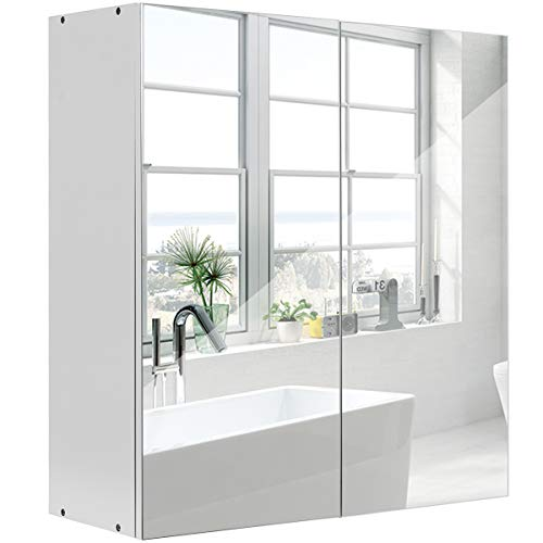 DREAMADE Spiegelschrank Wandschrank, Badezimmerschrank mit Spiegel, Badeschrank mit Spiegel weiß, Wandschrank Badezimmenr, Hängeschrank mit Spiegel