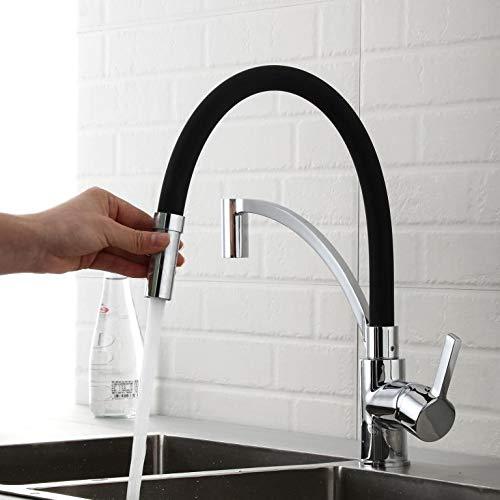 WENHAUS Schwarz-Gummi Wasserhahn Küchenarmatur 360° Schwenkbar Einhebel Spültischarmatur Mischbatterie Für Küchespüle (600018)