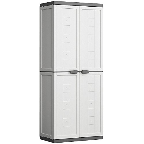 KETER | Armoire haute JOLLY, Blanc-Gris, Cabinets, 68x39x39x166 cm