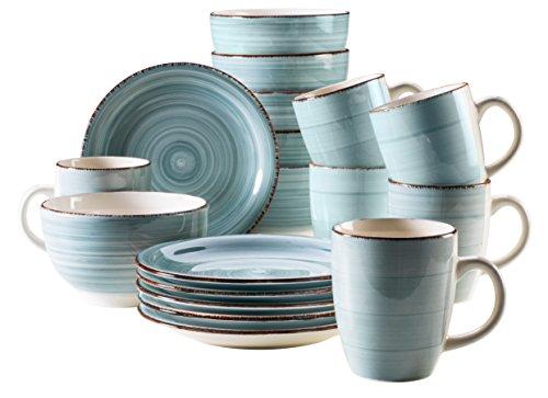 Mäser Frühstück-Service für 6 Personen im Vintage Look, handbemalte Keramik, Geschirr-Set 18 Teile, Steingut, Hellblau (Bel Tempo I)