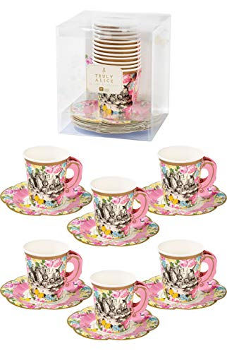 Talking Tables TSALICE-CUPSETV2 Truly Alice Cup Set avec poignée et soucoupes, 12Pk, Papier, Multicolore, 16,1 x 14,5 x 16,1 cm