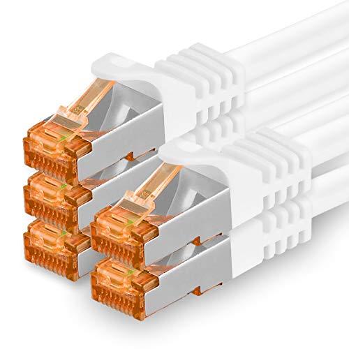 1aTTack.de 2m - Cat.7 Netzwerkkabel Weiß - 5 Stück Gigabit Ethernet LAN Kabel 10000 Mbit s Patchkabel Cat7 Kabel S FTP PIMF Schirmung LSZH Cat.7 Rohkabel Rj45 Stecker Cat 6a - 5 x 2 Meter