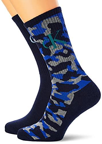 Calvin Klein Jeans Monogram Camo Men's Cushion Crew Socks 2 Pack Calcetines Redondos, Azul, Talla única para Hombre