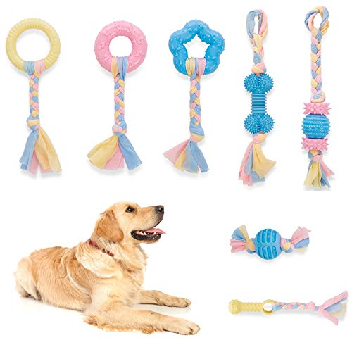 Dog Chew Toys 7 Pack Durable Puppy Teething Toys with Rope and Rubber for Puppies Small to Medium Dogs Rope Tug Toys Teeth Cleaning Chewing Playing