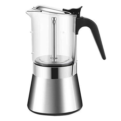 Beada Estufa con Tapa de Cristal de Cristal Cafetera Espresso Hervidor de Agua Moka Percolador Italiano CláSico de Acero Inoxidable de 6 Tazas 240ML