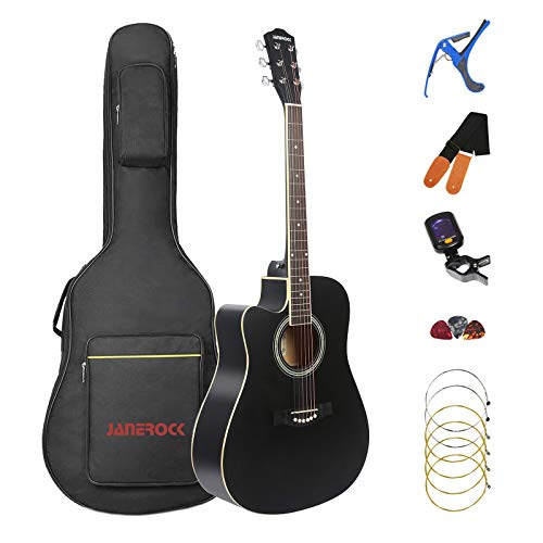 Left Handed Acoustic Guitar Cutaway 41 inch Full-size Beginner Guitar Package with Gig Bag Tuner String Strap Capo,Black By Janerock