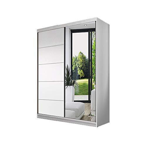 Idzczak Meble Schwebetürenschrank Neomi 05 mit Spiegel Modern Klein Kleiderschrank Wohnzimmer- Schiebetüren (Weiß/Weiß + Spiegel)
