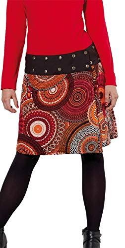 Coline Falda Hippie Reversible roja y Negra,Falda Corta con Estampado Reversible Mandala (Rojo, Talla única)