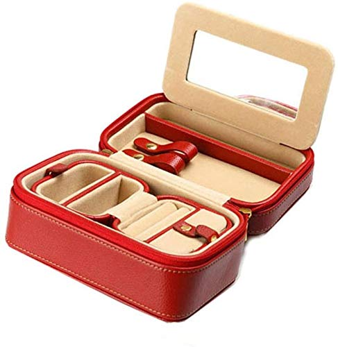 Jewelry Box for Women, Portable Jewelry Box Hidden Space Small Faux Leather Travel Jewelry Box Organizer Display Storage Case Zipper Closed Organizer Multipurpose Treasure Chest Trinket