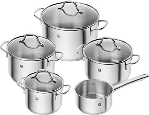 ZWILLING Batería de Cocina de 5 Piezas, 4 Tapas, Apto para Inducción, Acero Inoxidable, Flow