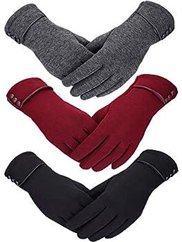 Patelai 3 Pairs Women Winter Gloves Warm Touchscreen Gloves Windproof Gloves for Women Girls Winter Using  Black Gray Wine Red