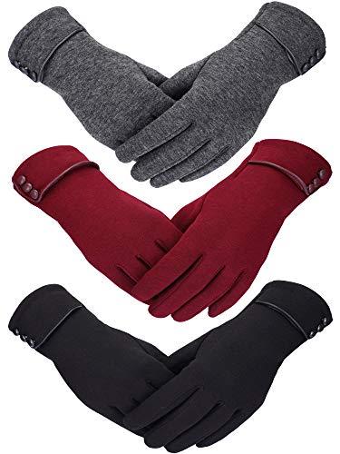 3 Paires Femmes Gants d'hiver Gants Chauffants Gants en Peluche Coupe-Vent pour Femmes Filles Hiver Utilisant (Noir, Gris, Vin Rouge)
