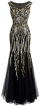 Angel-fashions Women s Pattern Sequin Bateau Cap Sleeve Flapper Mermaid Evening Dress XXLarge Gold Black