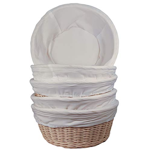 Wicker Bread Baskets with Cotton Liners (Pack of 5)