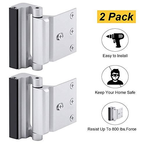 """Home Security Door Lock, Childproof Door Reinforcement Lock with 3"""" Stop Withstand 800 lbs for Inward Swinging Door, Upgrade Night Lock to Defend Your Home (Silver-2 Pack)"""