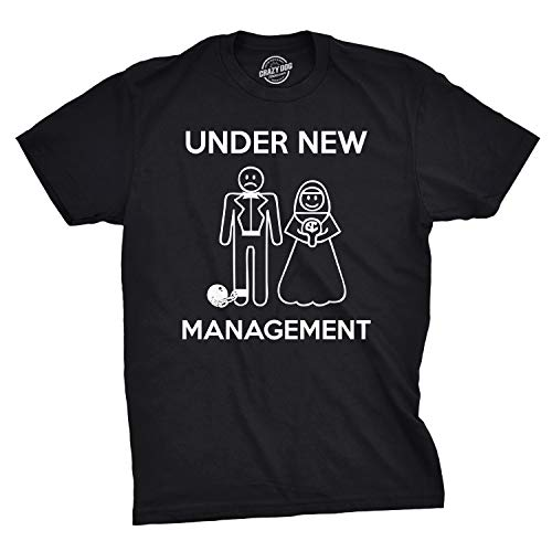 Mens Under New Management Funny Wedding Bachelor Party Novelty Tee for Guys (Black) - M
