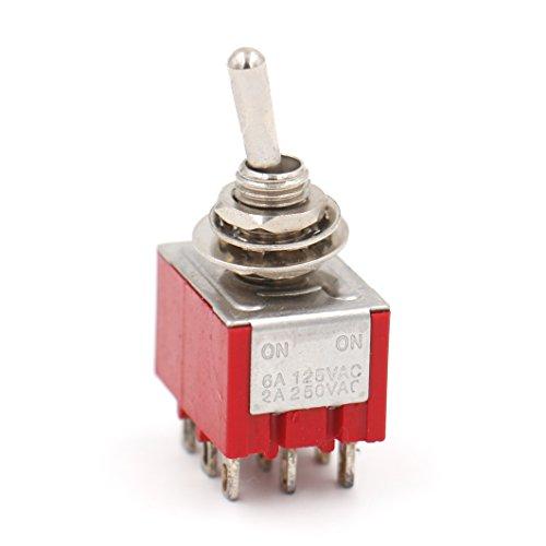 Heschen Miniatur-Kippschalter MTS-302, ON-ON, 3PDT, 9-polig, 2 A, 250 V, 6 A, 125 V, UR-aufgelistet, 2 Stück