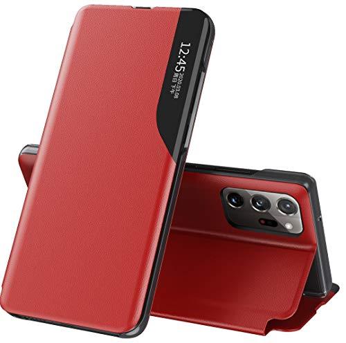 Mking Tech Funda de Cuero Inteligente de Alta Gama para Samsung Galaxy Note 20 Ultra 5G[6.9'] 5G. 9/S 20 FE/Poco x3 NFC/ 11 /Redmi Note 9 T/S 30.Voltear/Suspender/Activar/Cubierta de Cuero Rojo