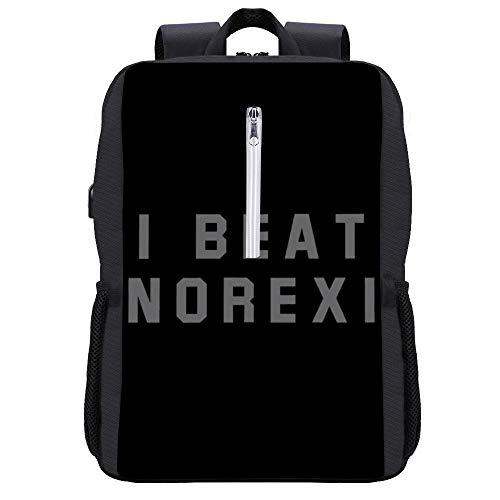 I Beat Anorexia Rucksack Daypack Bookbag Laptop Schultasche mit USB-Ladeanschluss