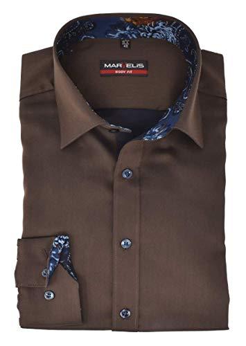 Marvelis Body Fit Hemd New Kent Kragen mit Besatz bügelleicht Uni Braun Reine Baumwolle, Größe:40