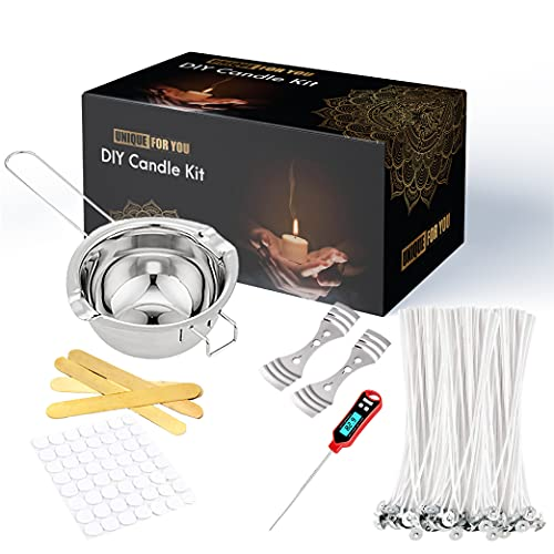 Unique for you Set de velas DIY - Haz tus propias velas - Incluye 1 crisol, 1 termómetro, 2 portavelas de metal, 4 palos de madera, 50 mechas de algodón y 50 puntos de pegamento - Gran regalo