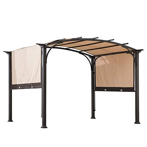 Sunjoy A106005400 Lindt 10 x 8 ft. Steel Arched Pergola with 2-Tone Adjustable Shade, Tan & Brown