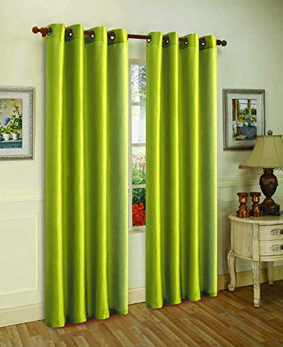 """J&V TEXTILES 2 Panels Solid Grommet Faux Silk Window Curtain Drapes Treatment in 84"""" Length (Lime Green)"""