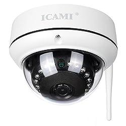 IP-Kamera ICAMI HD 720P Überwachungs-Kameras WLAN Wireless Home WiFi Dome Kamera SD-Karten-Aufzeichnung Nachtsicht Sicherheitskamera