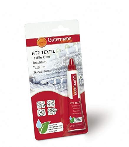 Gutermann Colla Tessile Senza solventi, Tubo da 19 ml/20 g, Benzisotiazolina, Si asciuga Trasparente, 19x9.5x2 cm