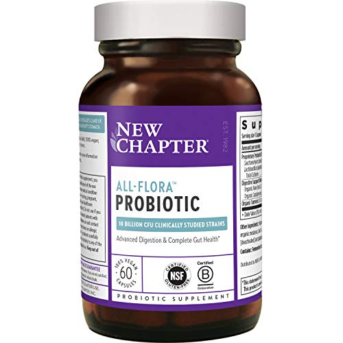 New Chapter Probiotic All-Flora - (2 Month Supply) for Advanced Immune Support with Prebiotics + Postbiotics for Women and Men + Saccharomyces Boulardii + 100% Vegan + Non-GMO + Shelf Stable, 60 Count