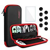 FANPL Black Carrying Case Compatible with Nintendo Switch OLED Model, Accessories for Switch OLED 2021 with 8 Thumb Grip Caps, Travel Protective Bag with Zipper Mesh Bag and 10 Game Card Slots