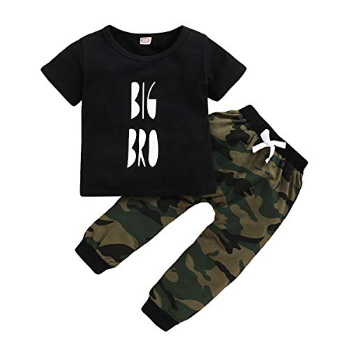 Baby Girl Brother Matching Outfits Kids Boy Big Little Brother Short Sleeve Top + Camouflage Pants Clothes Set (Big Bro, 3-4 Years)