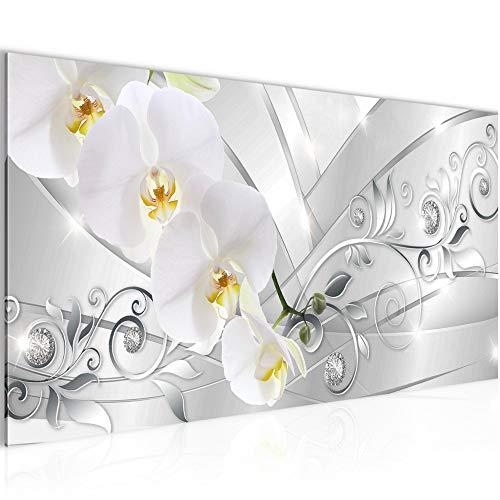 Bilder Blumen Orchidee Wandbild Vlies - Leinwand Bild XXL Format Wandbilder Wohnzimmer Wohnung Deko Kunstdrucke Grau 1 Teilig - MADE IN GERMANY - Fertig zum Aufhängen 209112a