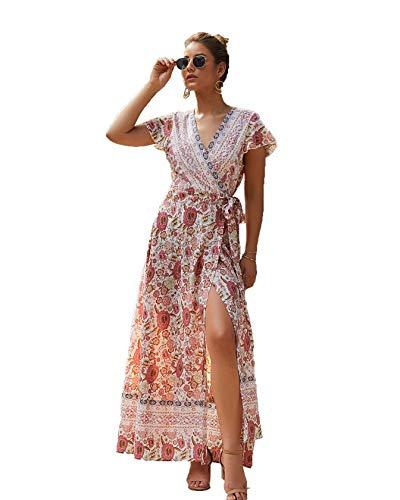 Mujeres del Verano con Cuello en V Wrap Vintage Floral Manga Corta Dividida con cinturón Fluido Boho Beach Vestido Largo