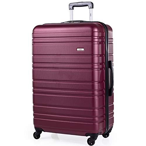 ABS Hard Shell 30 Inch Suitcase - Travel Luggage by A2B with 4 Spinner Wheels | Telescopic Drag Handle | Hard Sided Suitcases Weighing 4.3kg Cap 96L Height 76.5cm (Plum, Large)