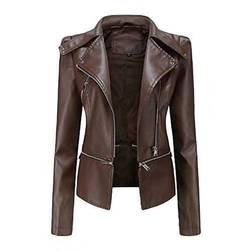 Chaqueta de cuero de dos piezas para mujer, dobladillo extraíble, tejido de cuero sintético, chaqueta clásica con cremallera para motociclista, abrigos vintage
