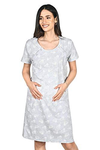 MijaCulture Camicia da Notte 2 in 1 Cotone Premaman/Allattamento/Allattamento al Seno 2074 (M, Grigio/Cuori)