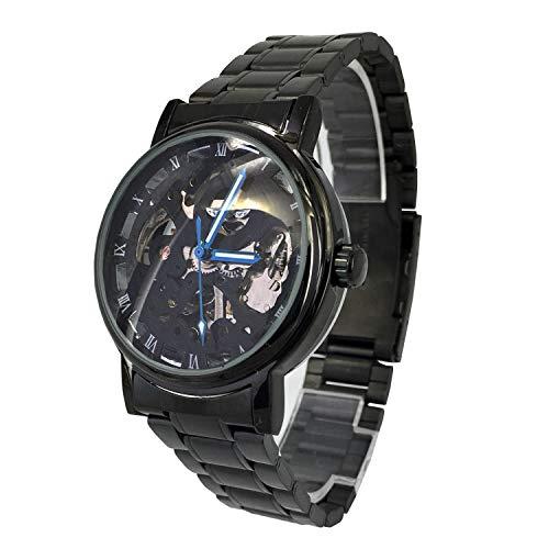 Reloj de pulsera con caja negra y esfera transparente, mecanismo de cuerda automático, de acero inoxidable, de CITY