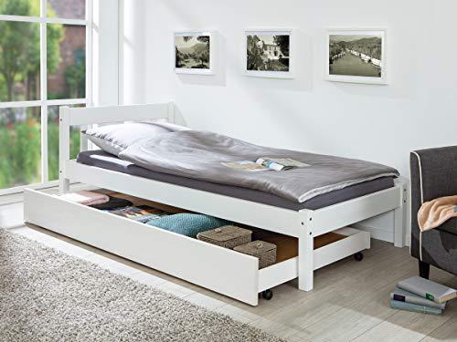 Inter Link Bettschublade Bettkasten aus Kiefer Massivholz weiss lackiert 200 cm für zusätzlichen Stauraum unter dem Bett