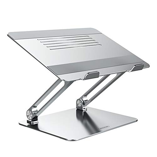 Nillkin Laptop Stand, Adjustable Laptop Riser Ergonomic Notebook Stand with Protective Hooks, Heat Dissipation Computer Stand Compatible with MacBook,Dell,Lenovo,All Laptops From 11-17.3'(Silver)