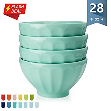 Sweese Porcelain Fluted Latte Bowl Set - 28 Ounce Stable and Deep - Microwavable Bowls for Cereal, Soup - Set of 4, Light Green