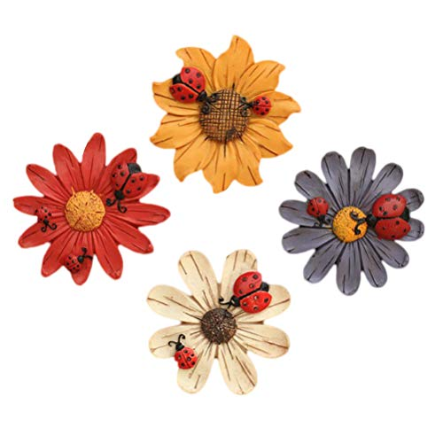 DOITOOL - 4 imanes de nevera de flores para nevera, pegatinas de resina de flores hermosas pegatinas de colores para puerta de jardín, estilo aleatorio