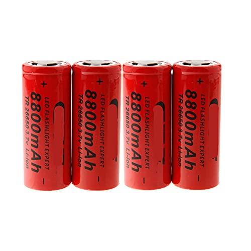 HIWASH 4pcs3.7v 26650 Batería De Litio 8800mah Batería Recargable, para Linterna CáMara Digital Luz De Emergencia Bicicleta Cargador Inteligente Juguete Control Remoto Mango De Juego De Luz Led