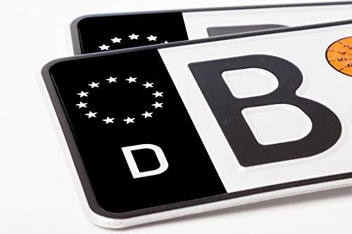 Ritter Mediendesign 2 Stück Nummernschild Kennzeichen Aufkleber EU-Feld in Schwarz überkleben