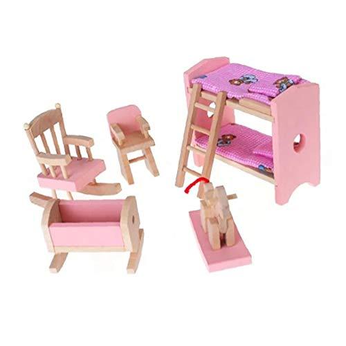 Nicetruc Miniatura de Madera de Muebles Incluir Litera Presidente Cuna Kid Regalo de los niños casa de muñeca de Juguete Mini Muebles