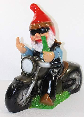Gartenzwerg Deko Garten Figur Zwerg Biker auf Motorrad mit Stinkefinger aus Kunststoff H 33 cm