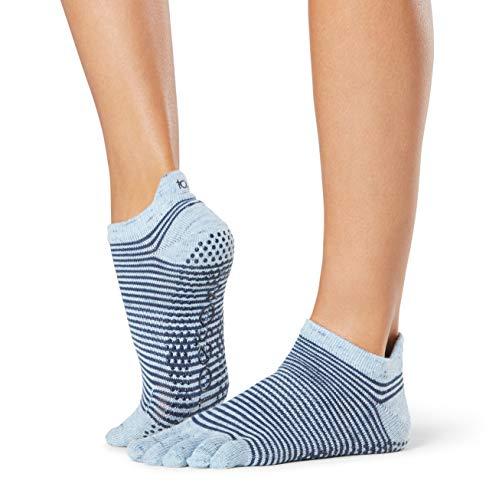 ToeSox Calcetines antideslizantes para mujer, de tiro bajo, con puntera completa, para ballet, yoga, pilates, dedo del pie, S, Azul (Bluebell)