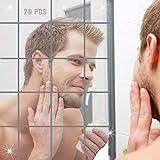 Pieoaoe Spiegelfliesen Selbstklebend Aufkleber Wandspiegel Zum Wanddekoration Spiegel Dekoration Wandbehandlungen für Badezimmer PET Spiegel Wandaufkleber 20 Stück (10x10cm)