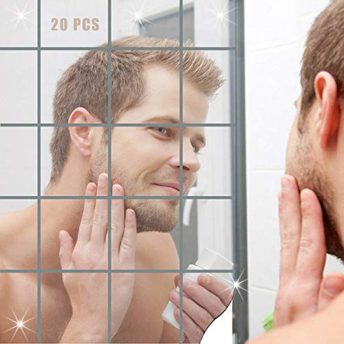 weifengji Spiegelfliesen Selbstklebend Aufkleber Wandspiegel Zum Wanddekoration Spiegel Dekoration Wandbehandlungen für Badezimmer PET Spiegel Wandaufkleber 20 Stück 10x10cm